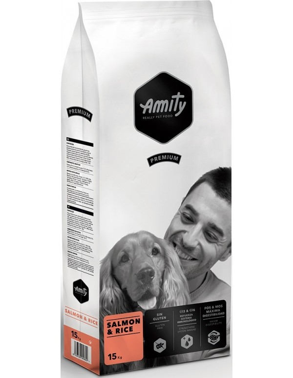 Amity Adulto Premium Salmon e Rice Alimento Seco Cão