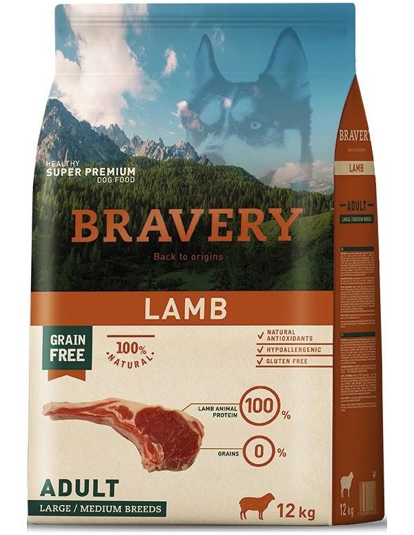 Bravery Adult Medium-Large Lamb (Grain Free) Alimento Seco Cão