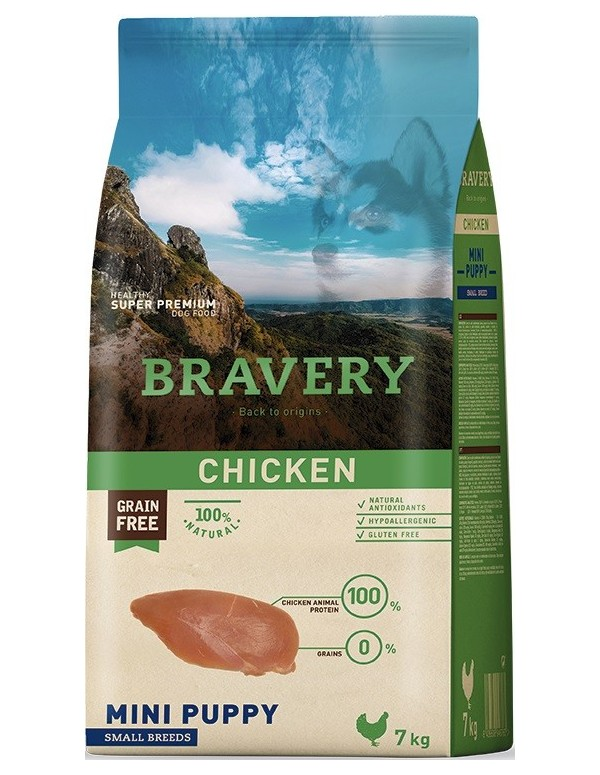 Bravery Puppy Mini-Small Chicken (Grain Free) Alimento Seco Cão