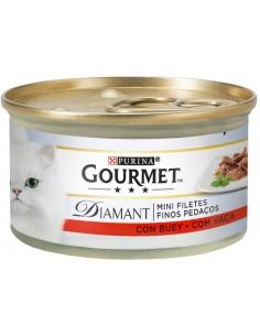 GOURMET Diamant Finos Pedaços Vaca Alimento Humido Gato